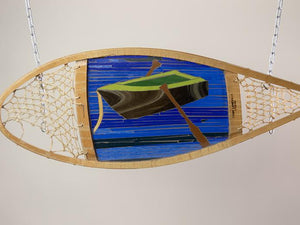 Cindy Laneville - Mosaic Artist snowshoes Rowboat framed in authentic snowshoe