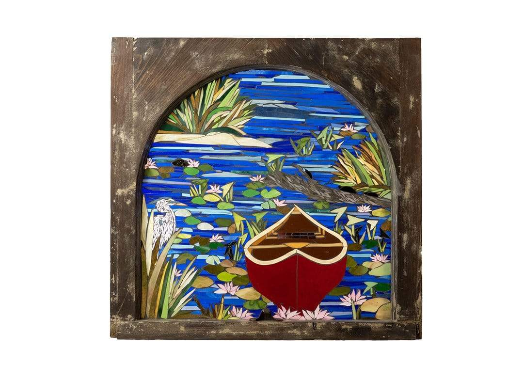 Cindy Laneville - Mosaic Artist window Water Lilies Red Canoe