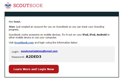 Password for Scouts to Join Scoutbook