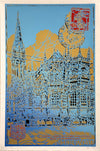 "ARTISTE OUVRIER - ""CHURCH OF SAINT-PIERRE DE CAEN, SUMMER"" - Silkscreen print"
