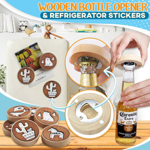 Wooden Bottle Opener & Refrigerator Stickers