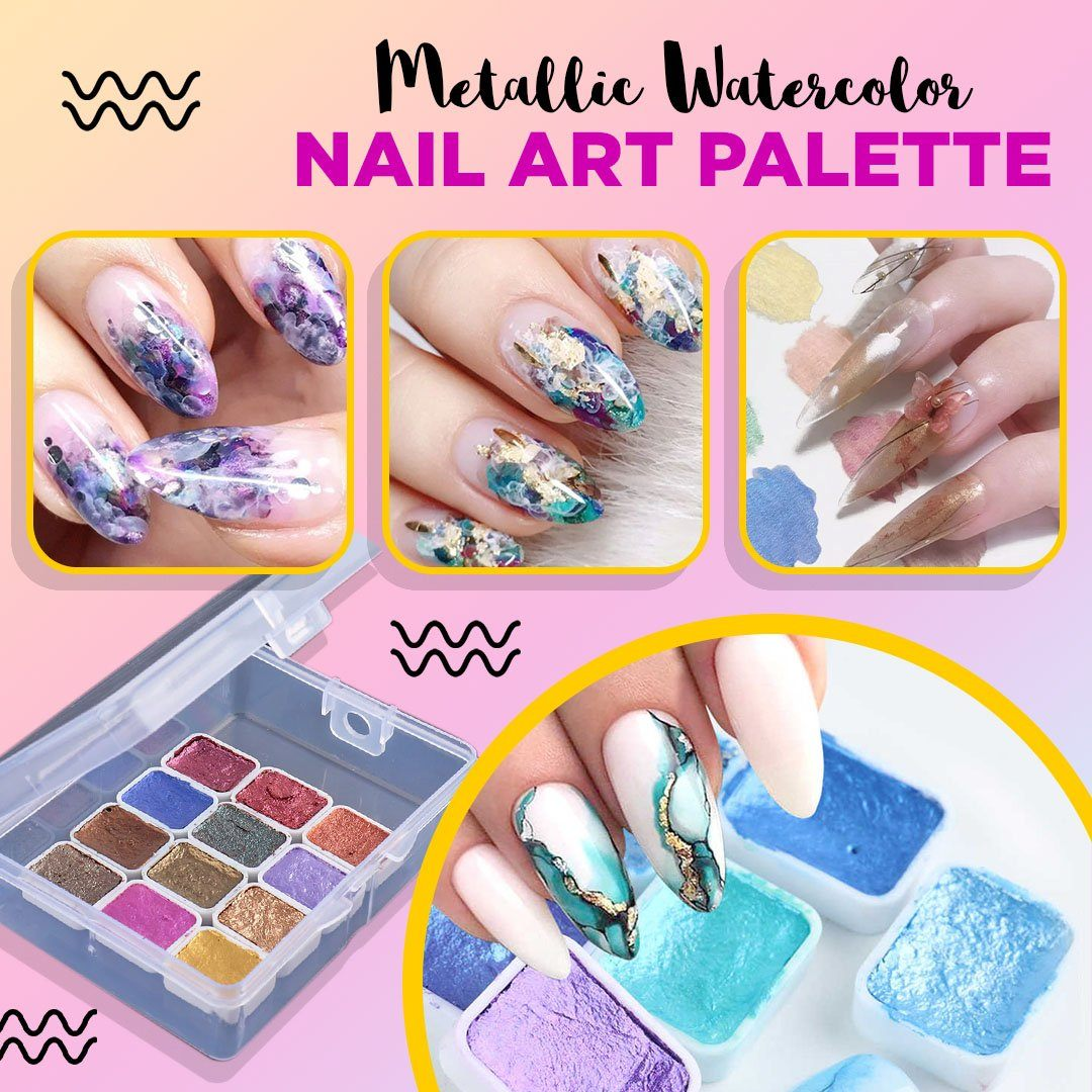 Metallic Watercolor Nail Art Palette