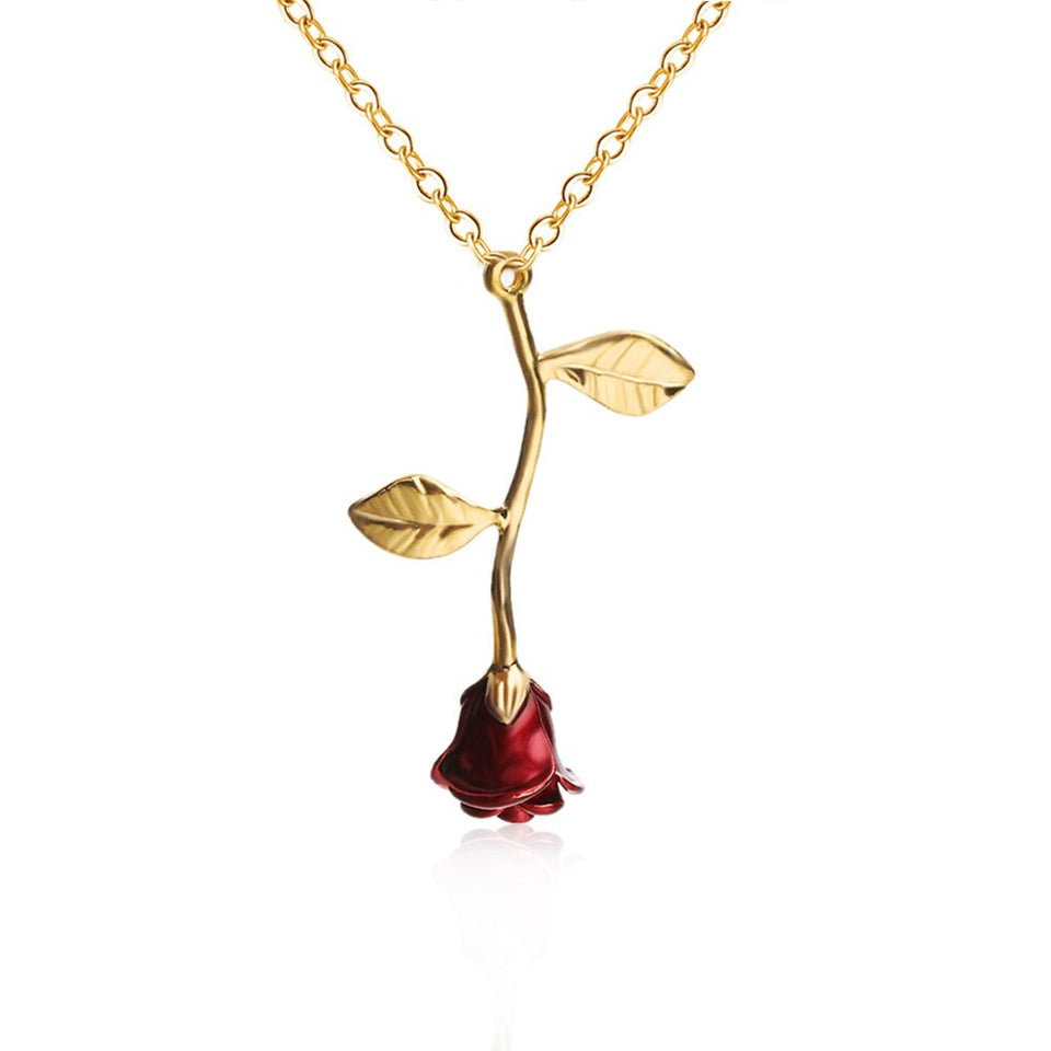 [NEW] Bijoux Red Rose Flower Statement Necklace