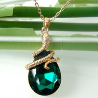 [NEW] 18k Gold Plated Curly Snake Crystal Pendant Necklace - Designer Jewelry