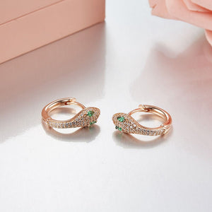 [NEW] Highly Stylish Sterling Silver Snake Hoop Earrings - Fine Jewelry