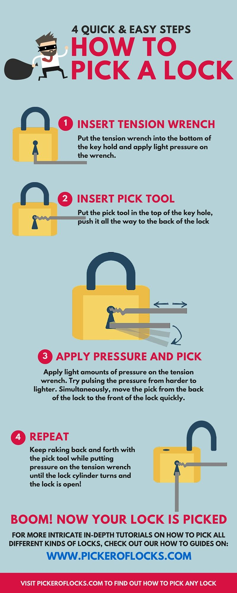Infographic: 4 Quick & Easy Ways to Pick a Lock