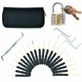 GOSO 24 Piece Lock Pick Set + Transparent Practice Padlock Bundle