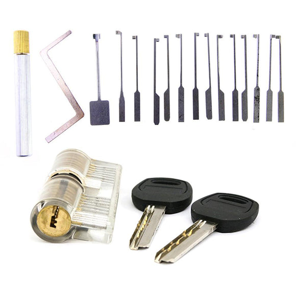 KABA Dimple Pick Set w/ Clear Practice Lock Bundle