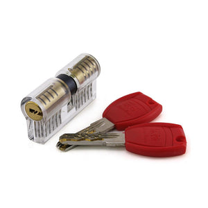 Clear Double-Ended 11 Pin Euro Cylinder Practice Lock
