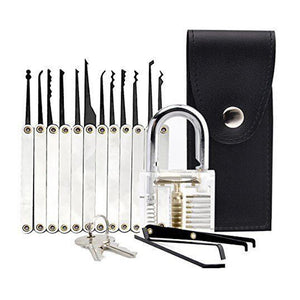 Transparent Practice Padlock 12 Piece Unlocking Lock Pick Set Key Extractor