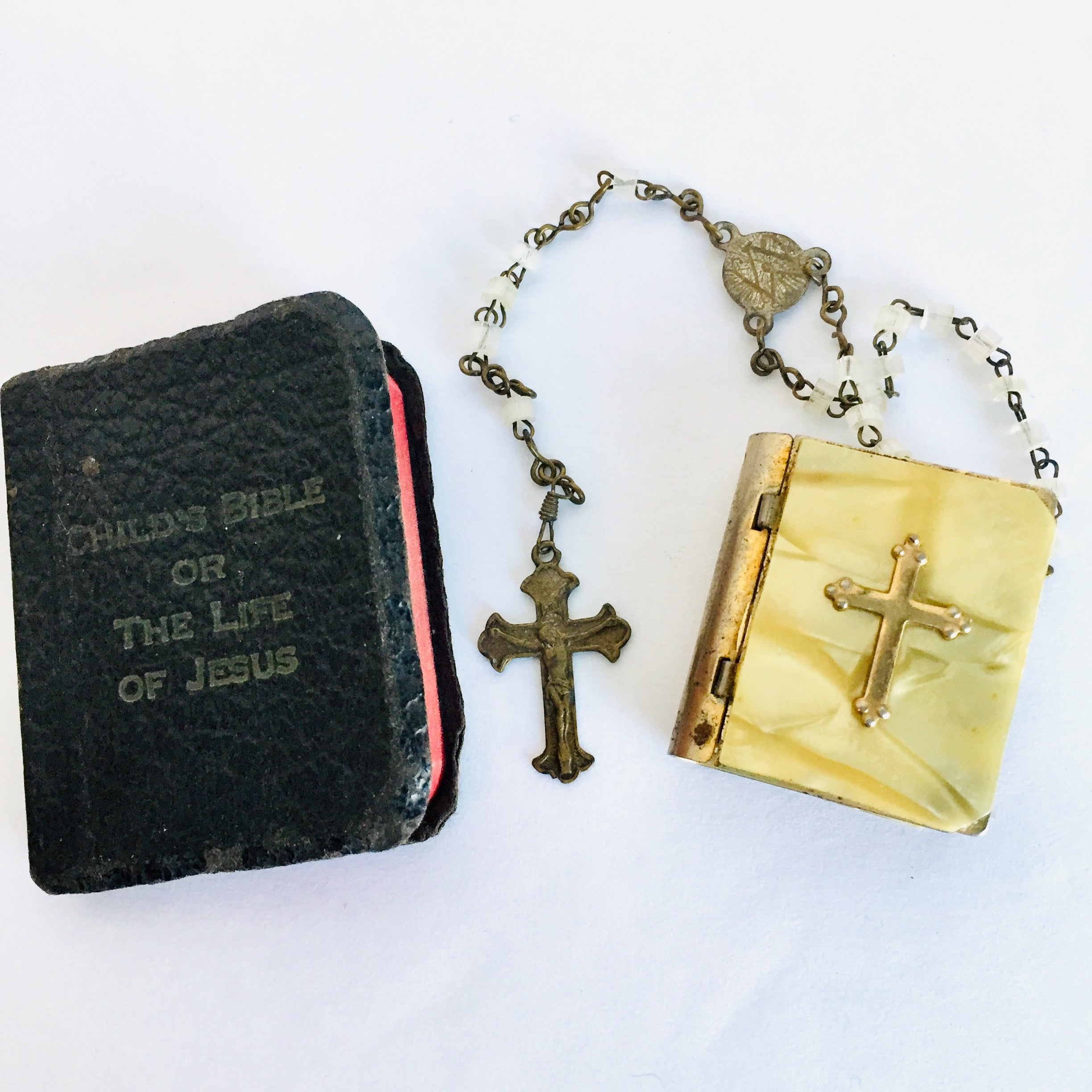 Vintage Baby Mother of Pearl Rosary, Case, and Bible