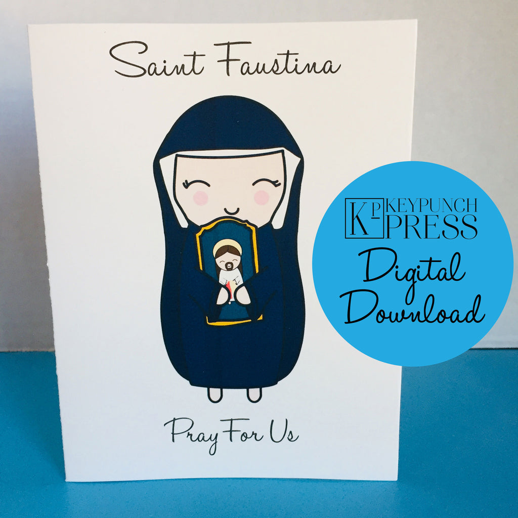 Saint Faustina Greeting Card Digital Download