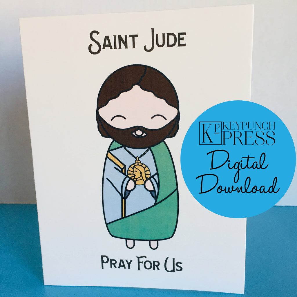 Saint Jude Pray For Us Keypunch Press 5x7 Card Digital Download