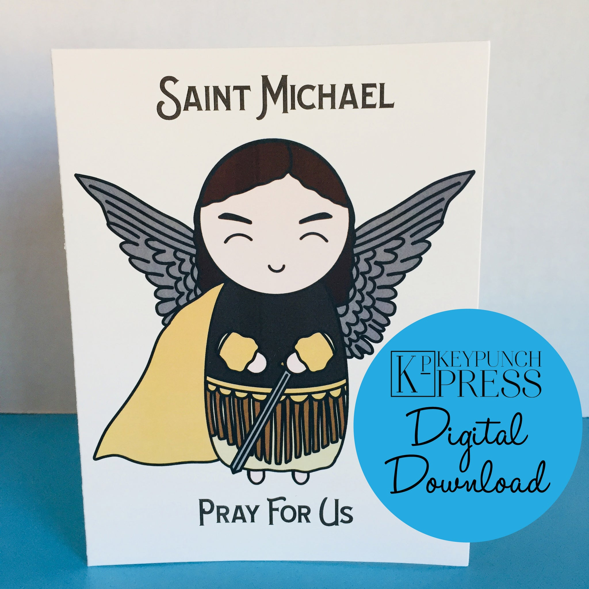 Saint Michael the Archangel Pray For Us Keypunch Press 5x7 Card Digital Download