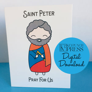 Saint Peter Pray For Us Keypunch Press 5x7 Card Digital Download
