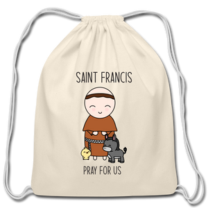 Open image in slideshow, Saint Francis of Assisi Cotton Drawstring Bag - natural