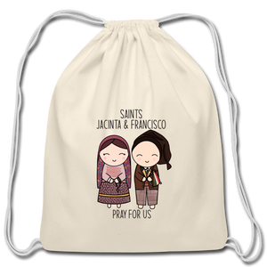 Open image in slideshow, Saints Jacinta and Francisco Cotton Drawstring Bag - natural