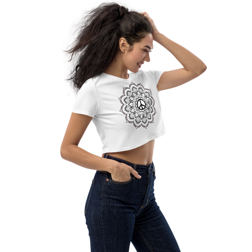 HIPPIE MANDALA PEACE CROP TOP