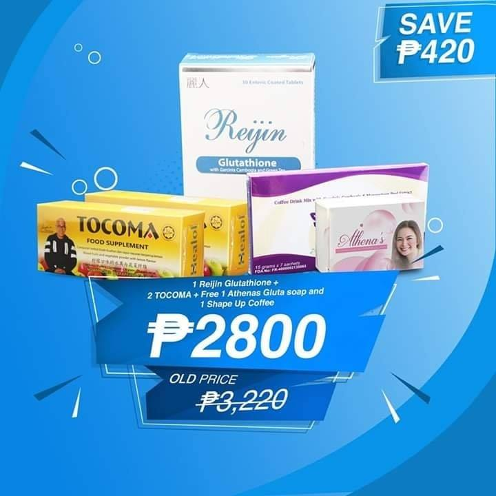 Reijin 1 Tocoma 2 Free 1 Athena Gluta Soap and Shape up Coffee