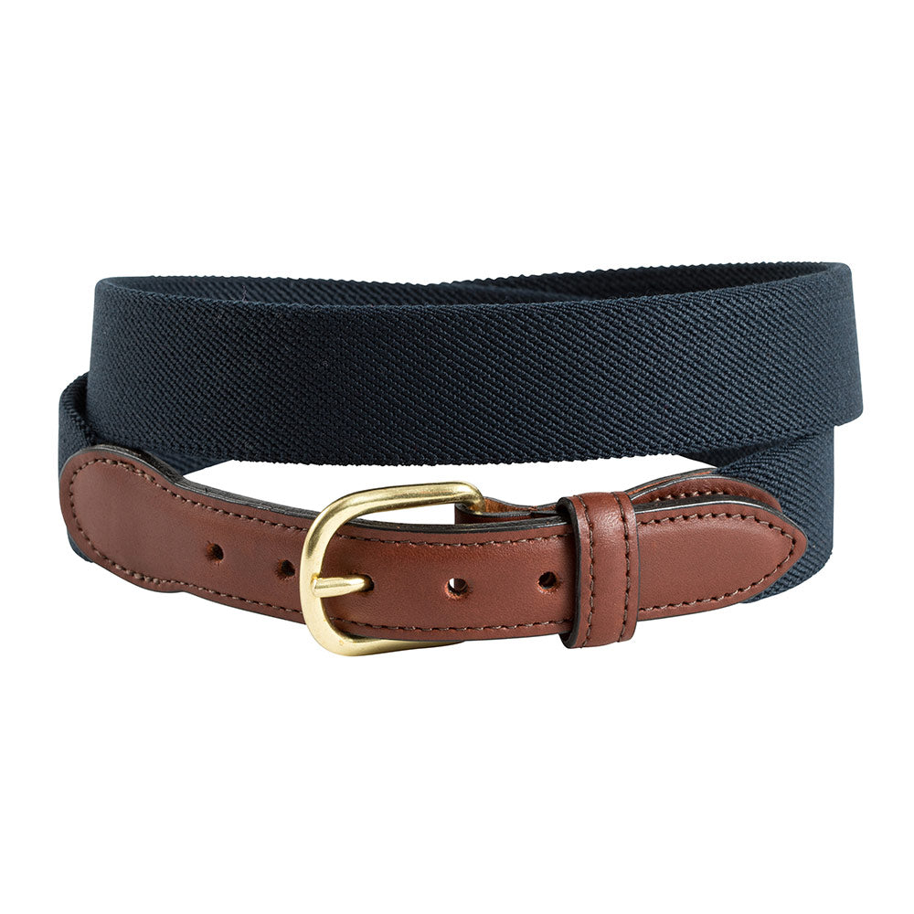 Navy Belgian Stretch Leather Tab Belt