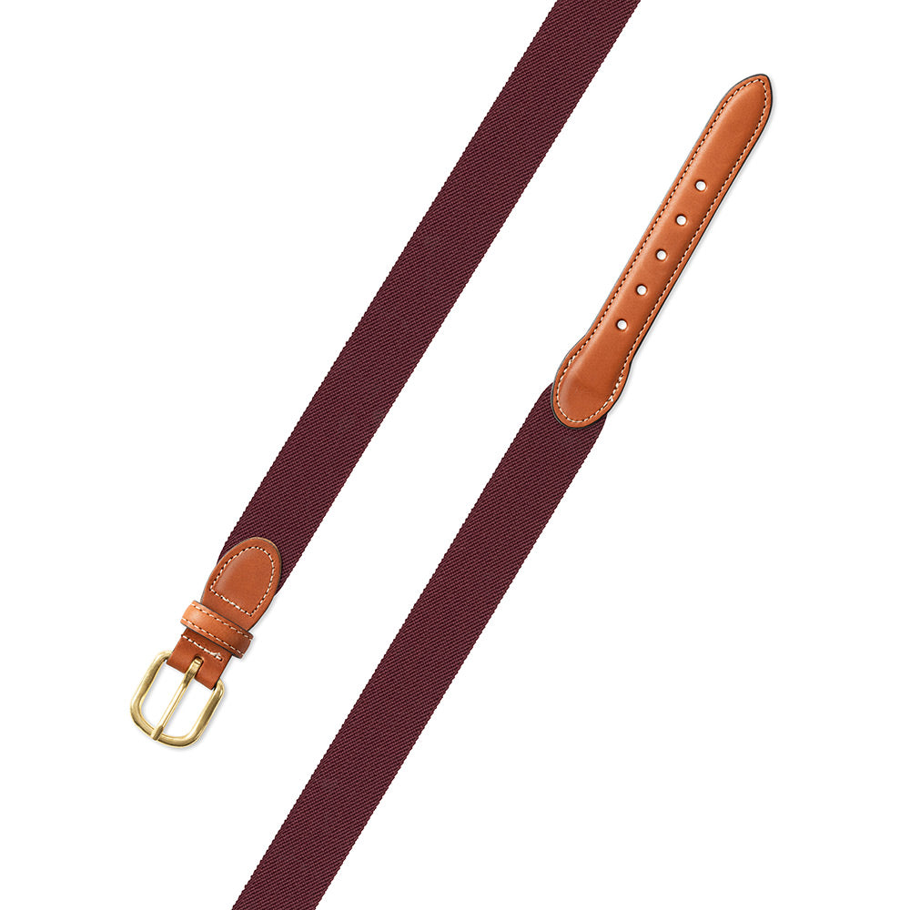Burgundy Belgian Stretch Leather Tab Belt