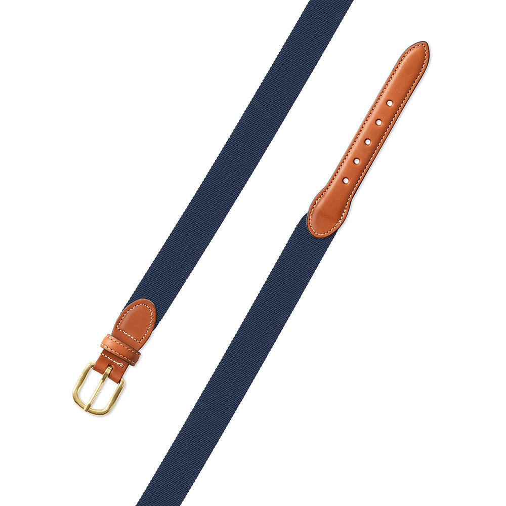Denim Blue Belgian Stretch Leather Tab Belt