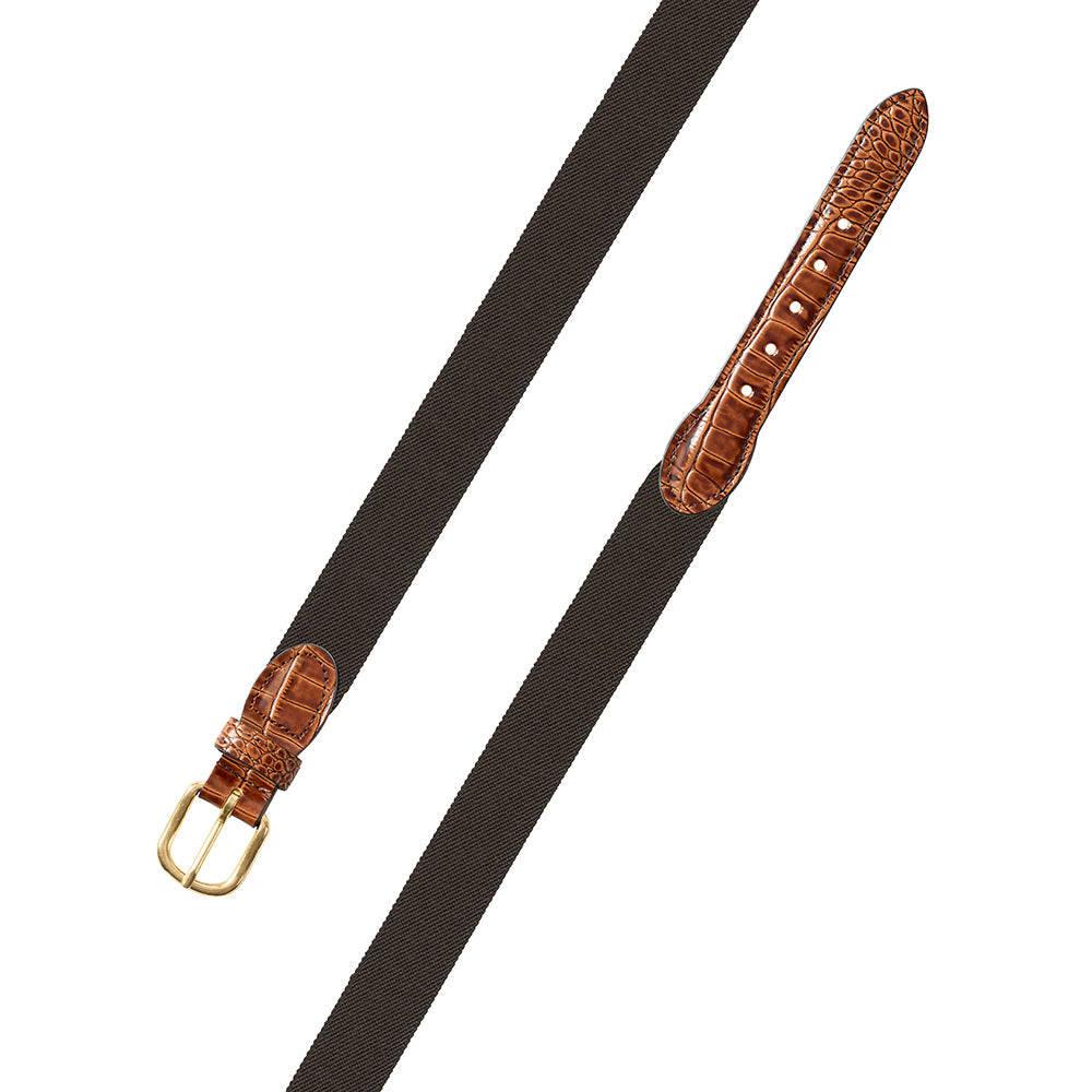 Brown Belgian Stretch Leather Tab Belt