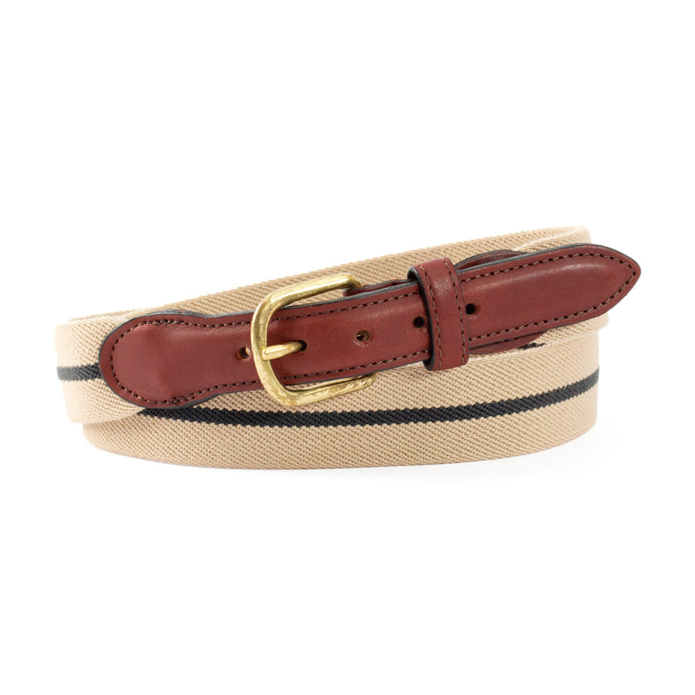 Tan & Navy Belgian Stretch Leather Tab Belt