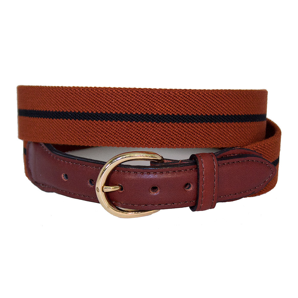 Rust & Navy Belgian Stretch Leather Tab Belt