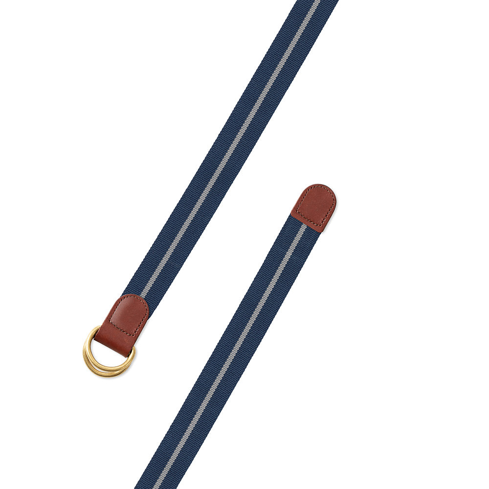 Blue & Grey Belgian Stretch D-Ring Belt