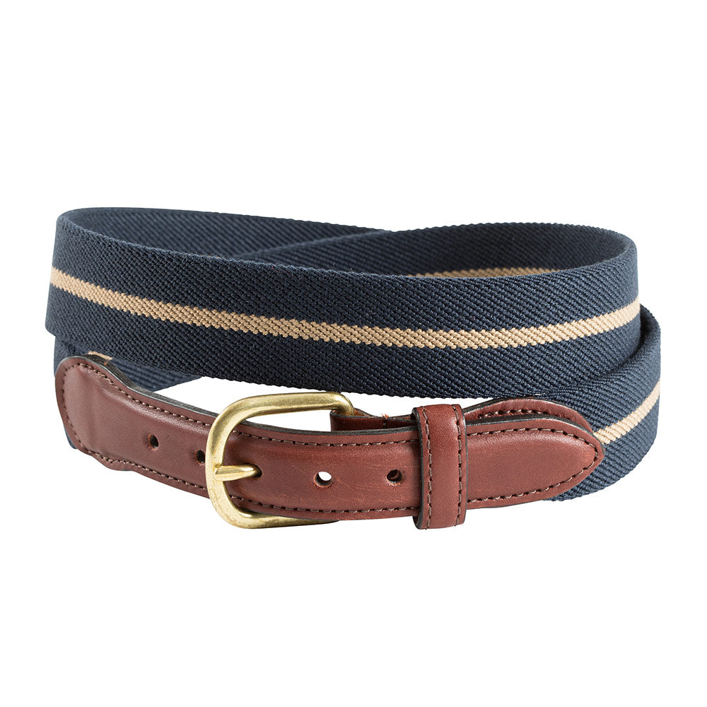 Navy & Khaki Belgian Stretch Leather Tab Belt