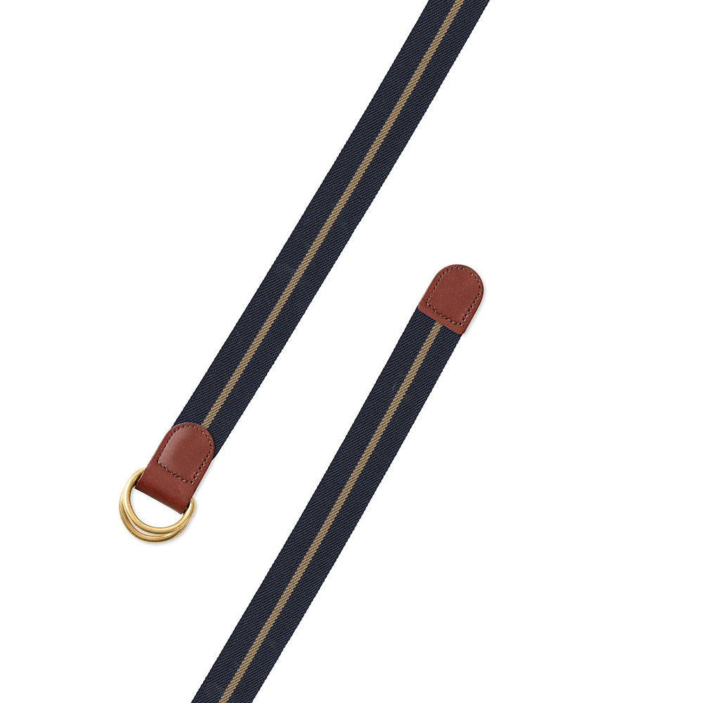 Navy & Khaki Belgian Stretch D-Ring Belt