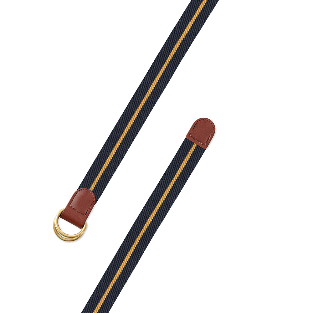 Navy & Gold Belgian Stretch D-Ring Belt