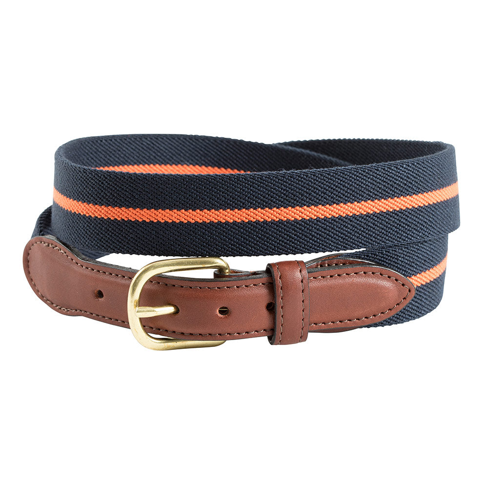 Navy & Orange Belgian Stretch Children's Belt