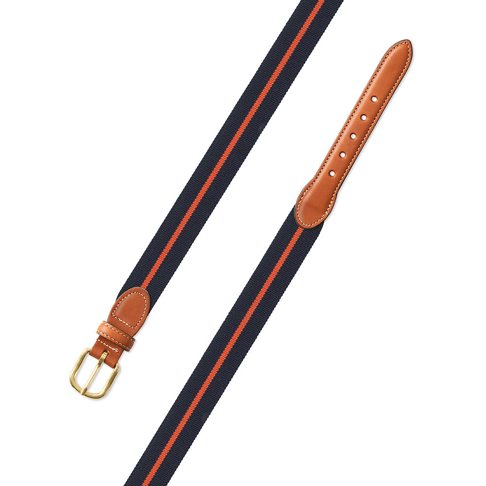 Navy & Orange Belgian Stretch Leather Tab Belt