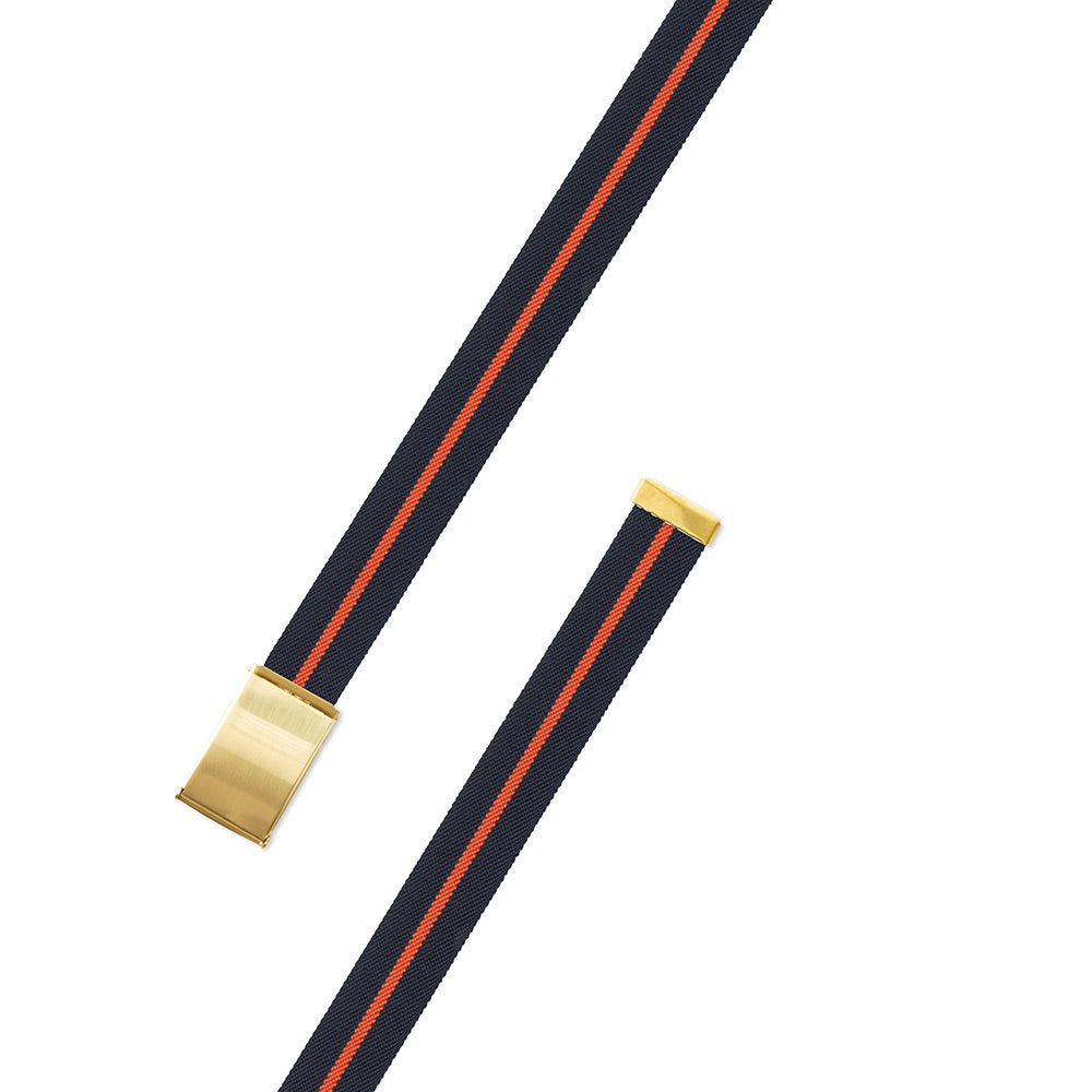 Navy & Orange Belgian Stretch Military Buckle Belt