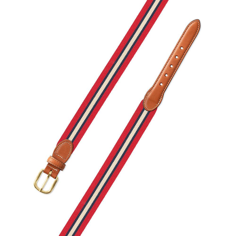 Red Multi Belgian Stretch Leather Tab Belt