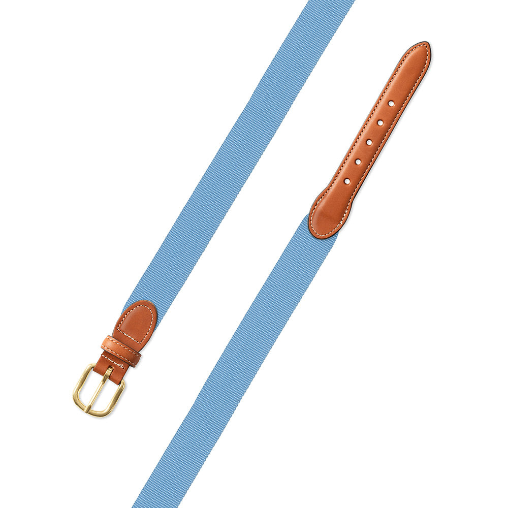 Textured Light Blue Belgian Surcingle Leather Tab Belt