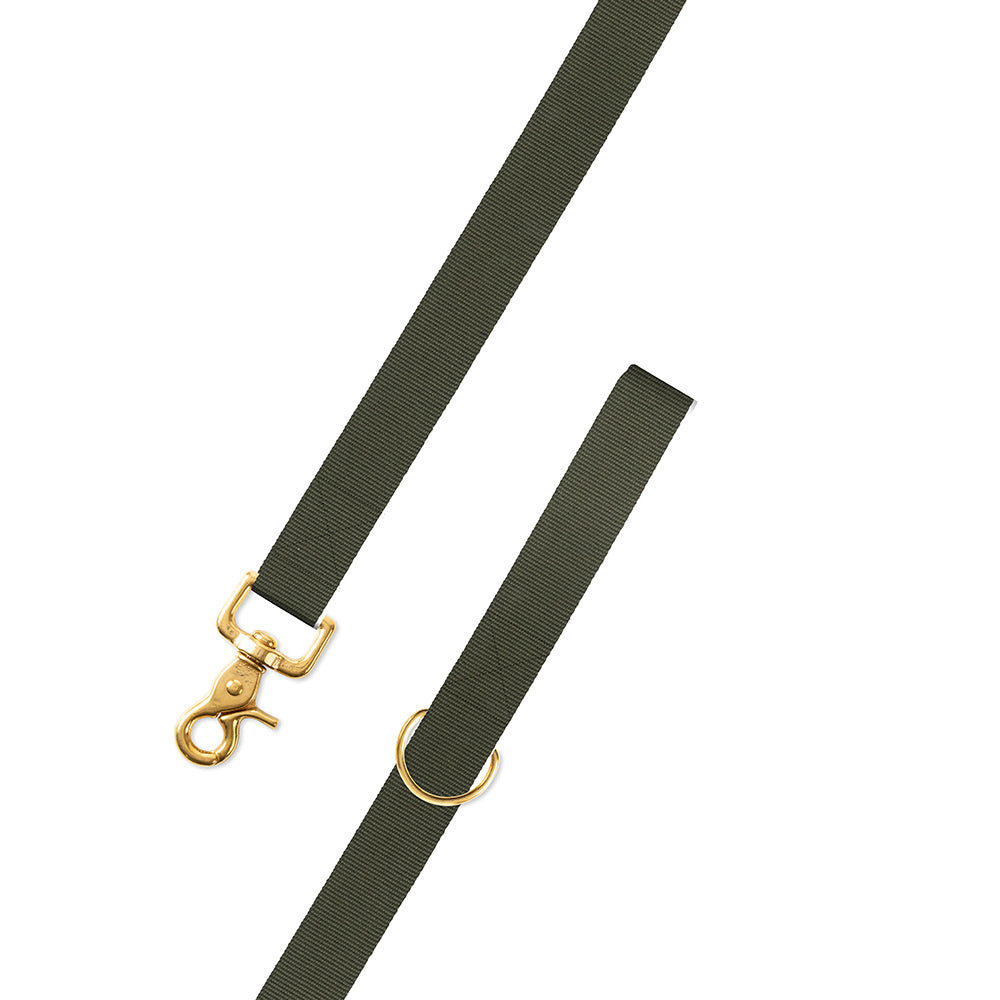 Textured Olive Green Belgian Surcingle Dog Leash