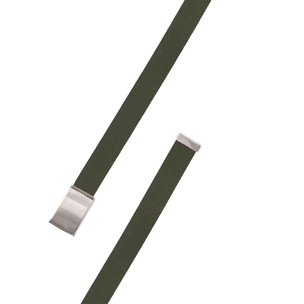 Textured Olive Green Belgian Surcingle Military Buckle Belt