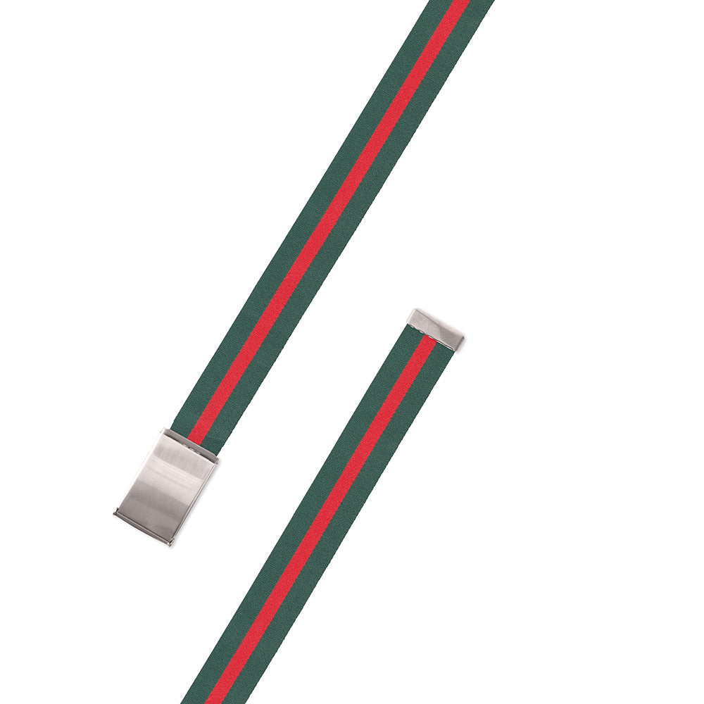 Green & Red Belgian Surcingle Military Buckle Belt