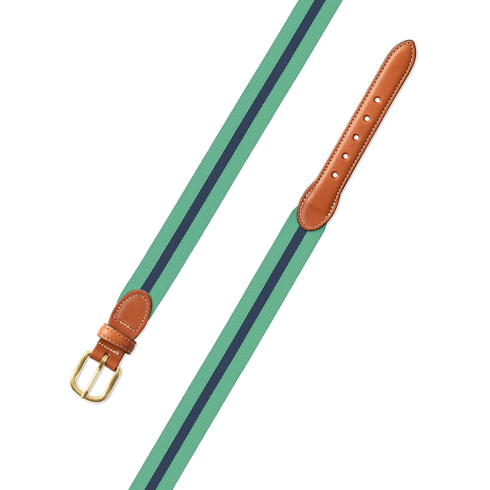 Mint Green & Navy Belgian Surcingle Leather Tab Belt