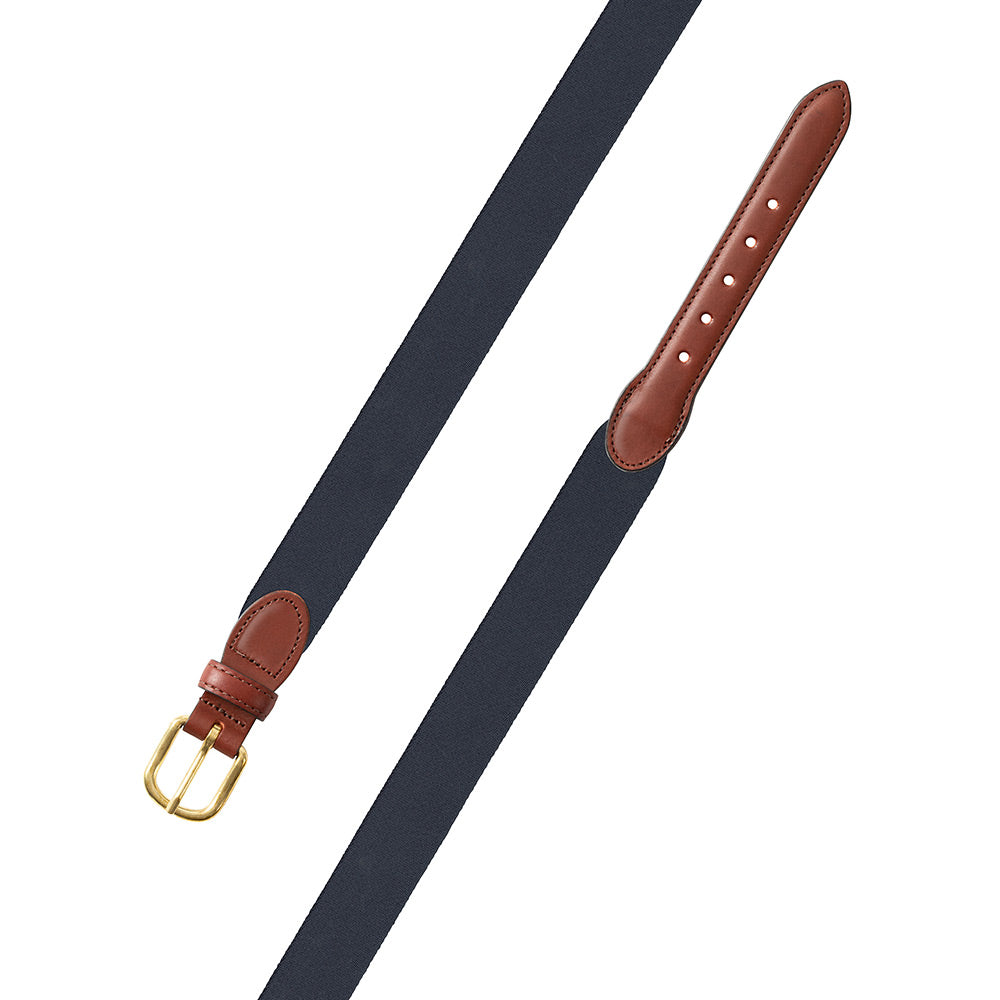 Navy Belgian Surcingle Leather Tab Belt