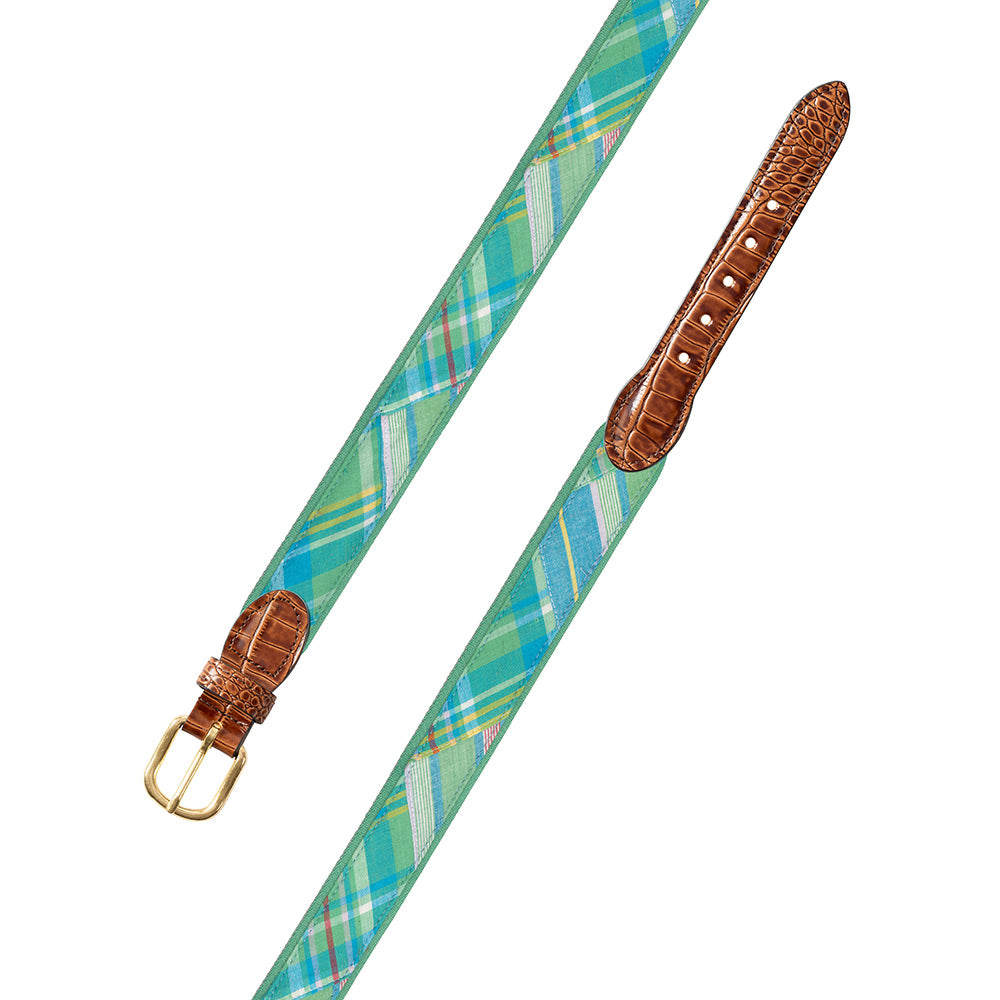 Madras on Green Fabric Leather Tab Belt