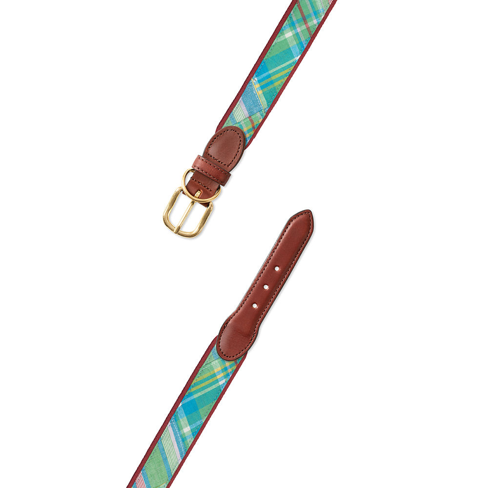 Madras on Burgundy Fabric Dog Collar