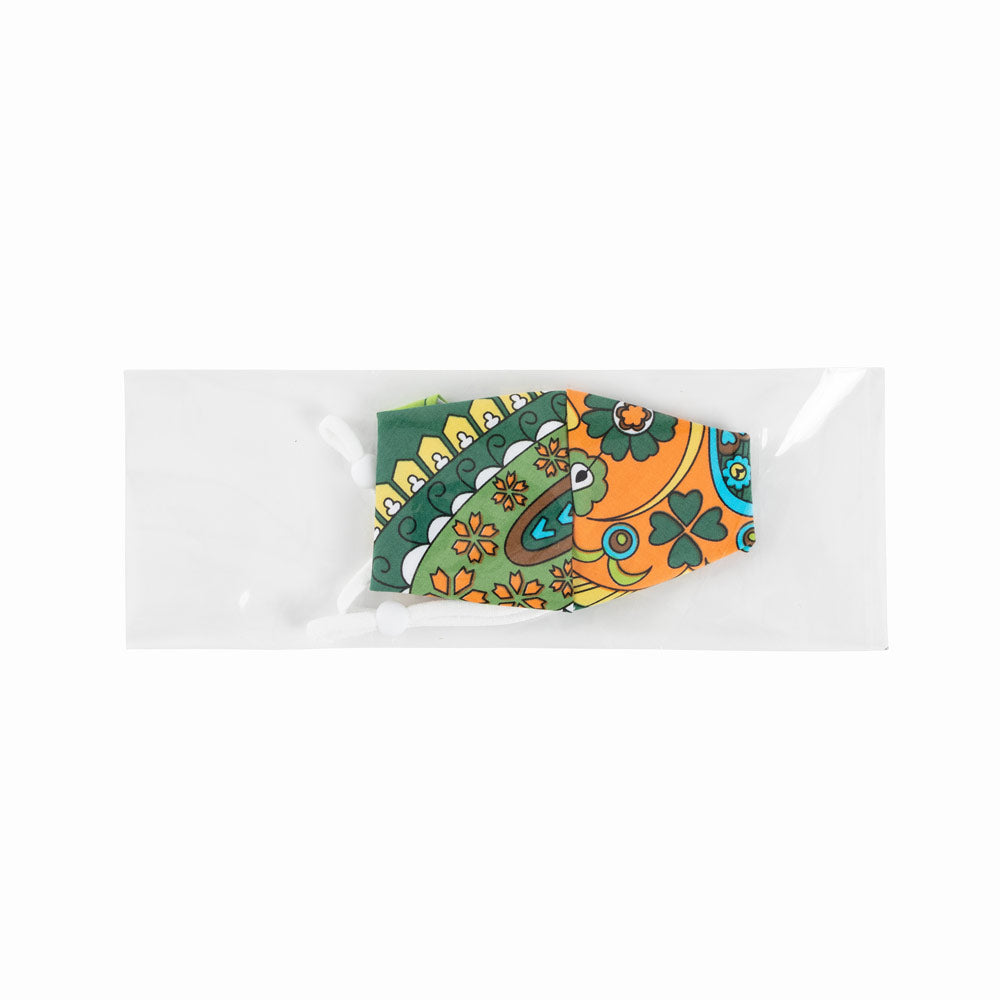 Green & Yellow Paisley Face Mask with Adjustable Elastic Ear Loops