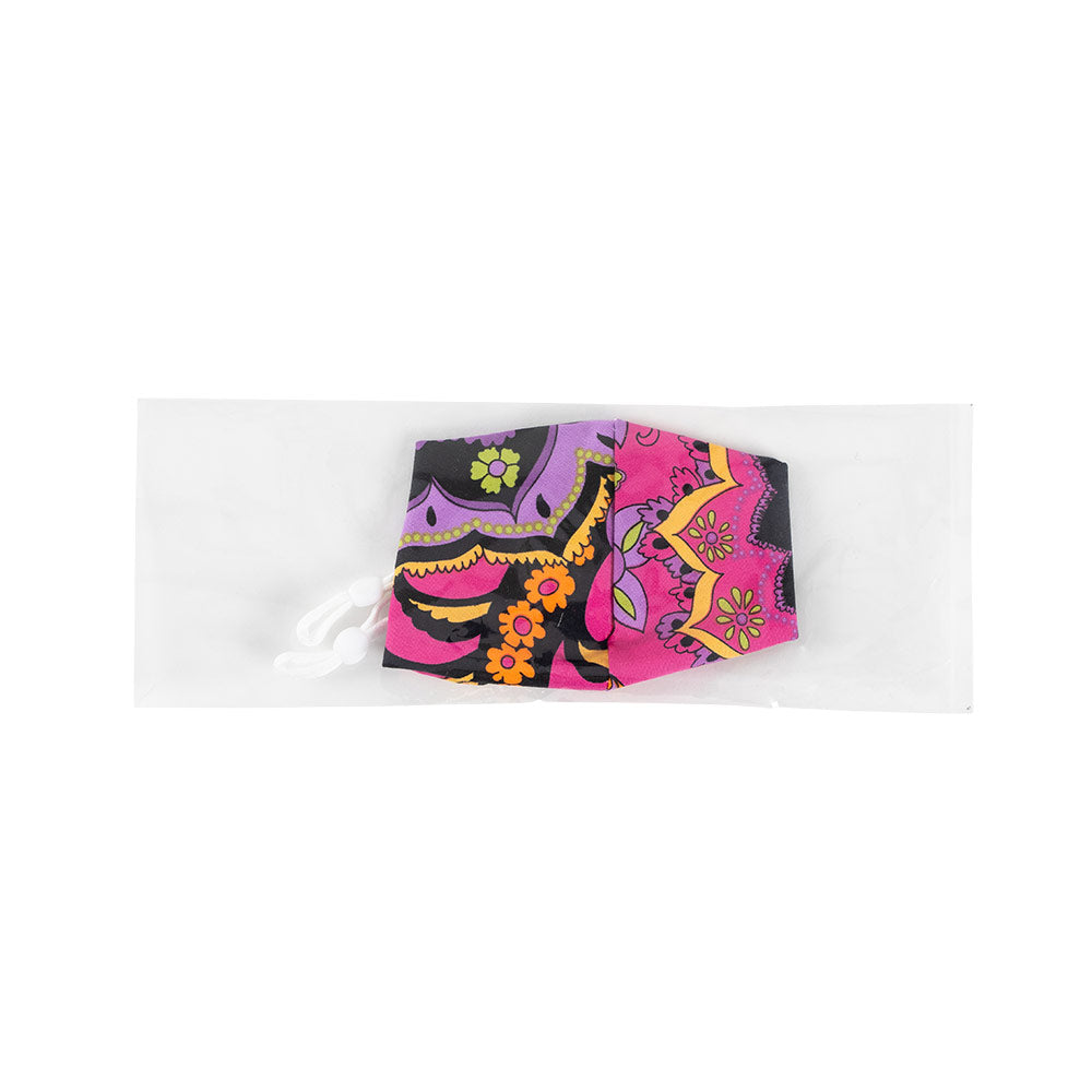 Pink & Purple Paisley Face Mask with Adjustable Elastic Ear Loops