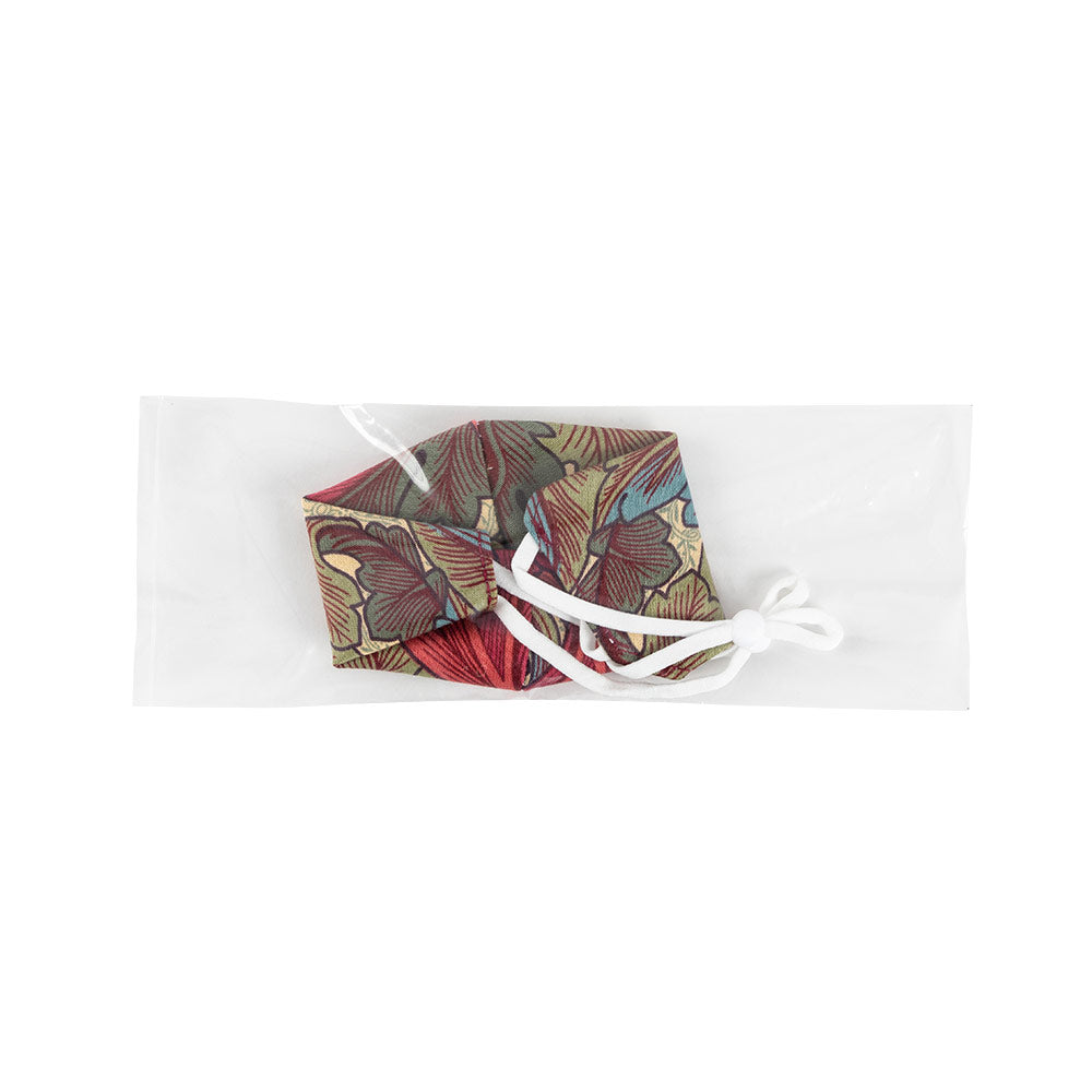 Red & Burgundy Floral Face Mask with Adjustable Elastic Ear Loops