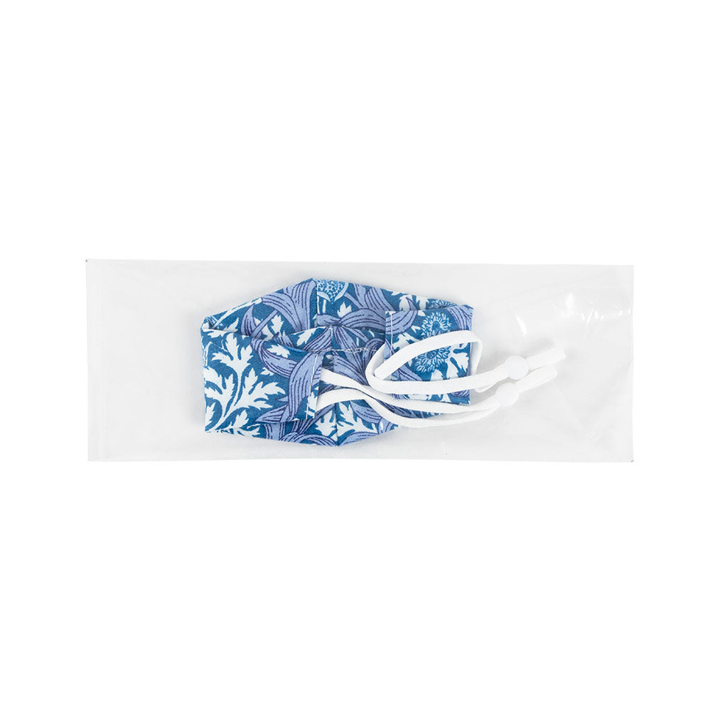 Blue & White Floral Face Mask with Adjustable Elastic Ear Loops