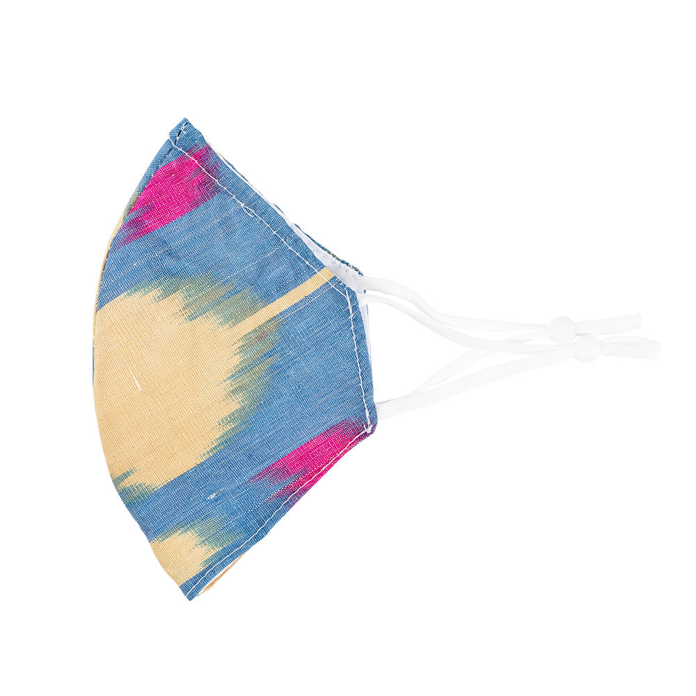 Blue & Pink Brushstroke Face Mask with Adjustable Elastic Ear Loops